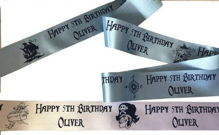 Children's Pirate Theme personalised ribbon